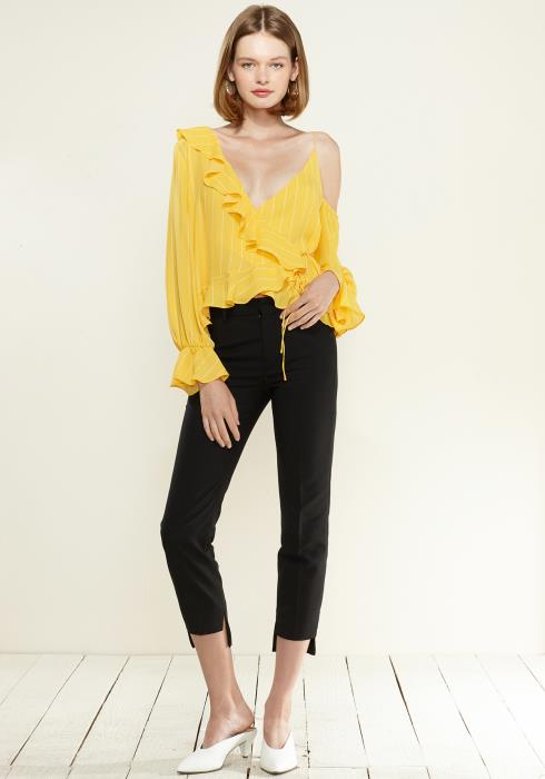 Nurode Asymmetrical Shoulder Ruffle Blouse