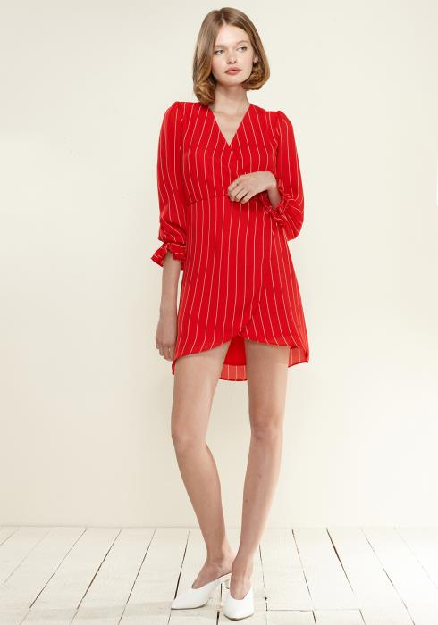 Nurode Smocked Bell Sleeve Wrap Dress