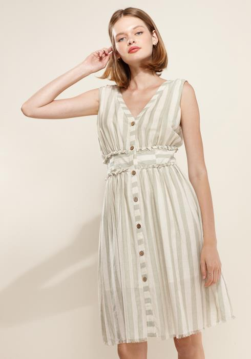 Nurode Sleeveless Button Down Stripe Dress