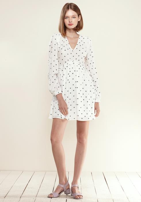Nurode Triangle Print Long Sleeve V-Neck Dress