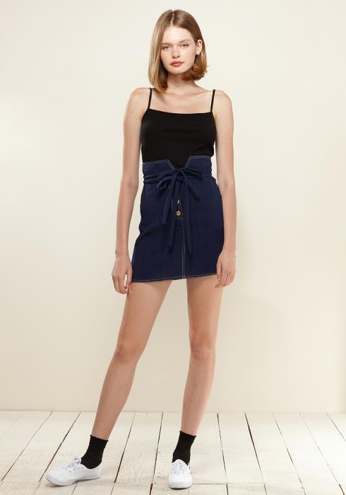 Nurode Stitch Hem Double Strap High Waist Skirt