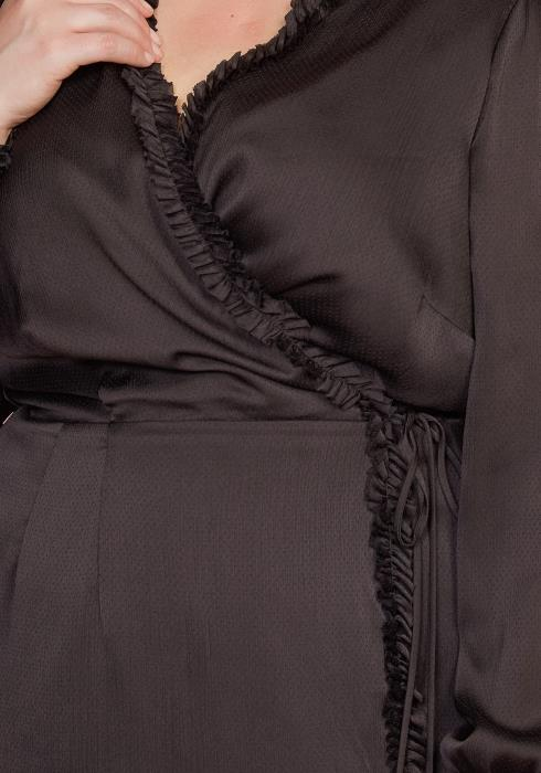 Nurode Plus Size Ruffle Trim Long Sleeve Wrap Dress