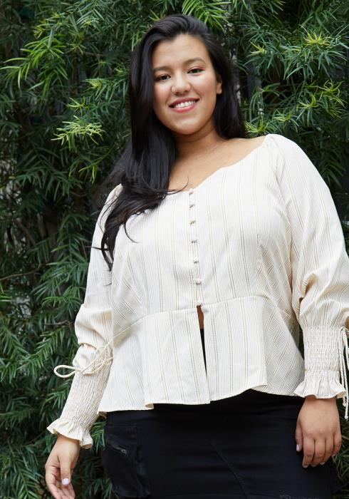 Nurode Plus Size Smocked Cuff Button Front Peplum Blouse