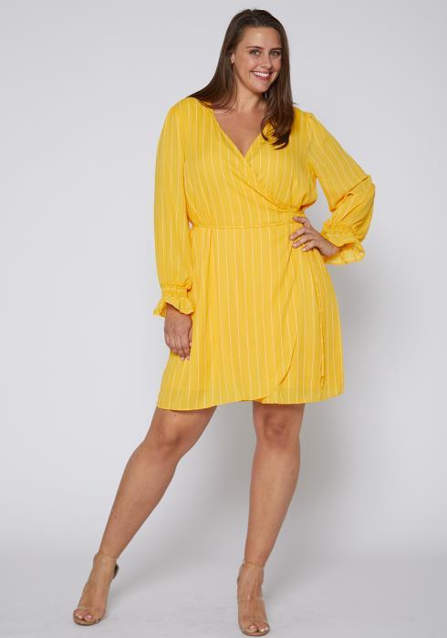 Nurode Plus Size Smocked Bell Sleeve Wrap Dress
