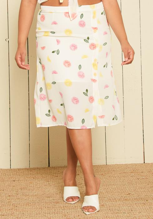 Nurode Plus Size Fruit Punch Button Front Midi Skirt
