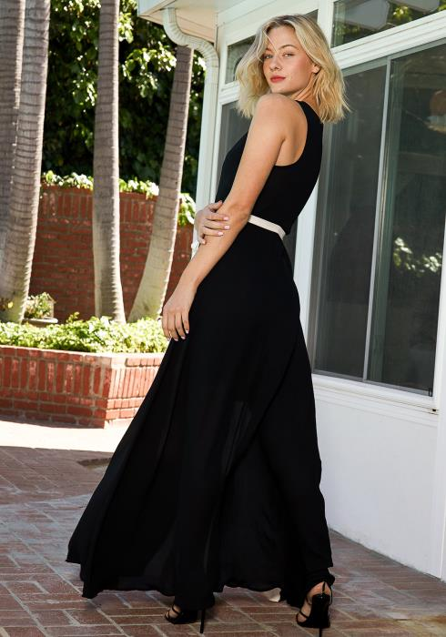 Tansy Black & White Maxi Gown