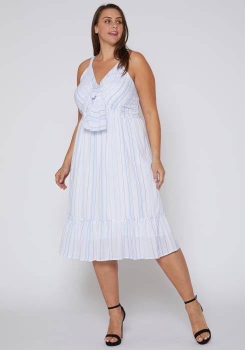Nurode Plus Size Tie Front Ruffle Hem Midi Dress