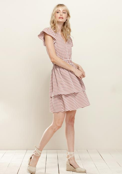 Pleione Puff Shoulder Ruffle Checkered Dress
