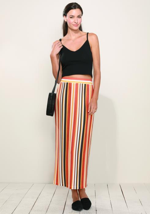 Pleione Elastic Waist Printed Maxi Skirt