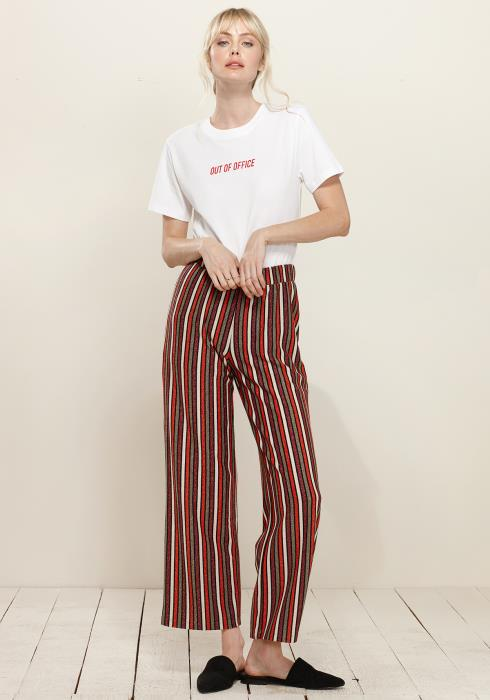 Pleione Multi Stripe Printed Wide Leg Pants