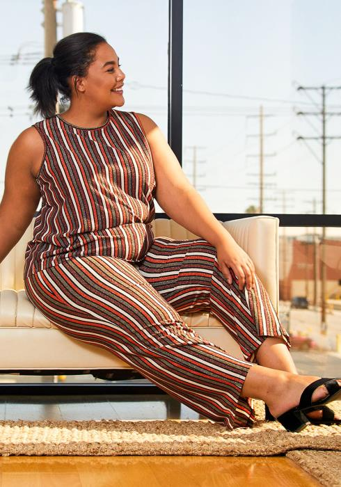 Pleione Plus Size Multi Stripe Printed Wide Leg Pants