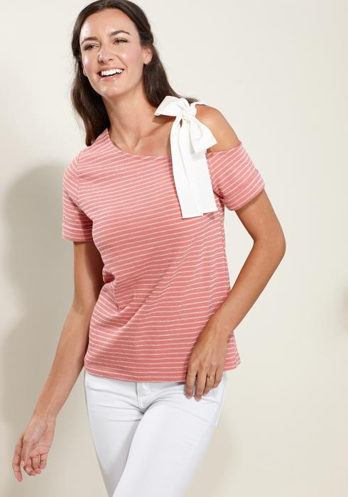 Pleione Tied One Shoulder Stripe Tee