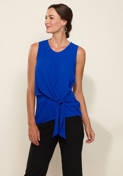 Pleione Round Neck Tie Front Sleeveless Blouse