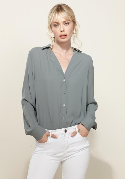 Pleione V-Neck Front Placket Long Sleeve Blouse