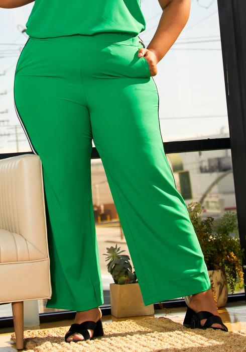 Pleione Plus Size Striped Side Binding Pants