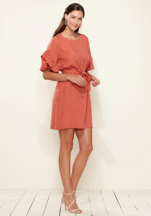Pleione Square Neck Ruffle Sleeve Shift Dress