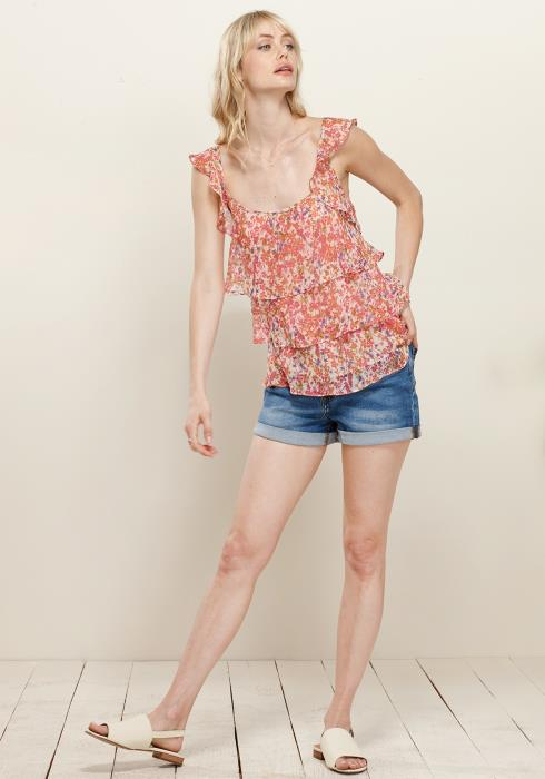 Pleione Layered Ruffle Floral Tank Blouse