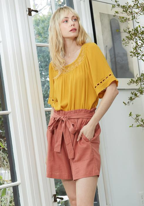 Pleione Pleated Short Sleeve Blouse Top