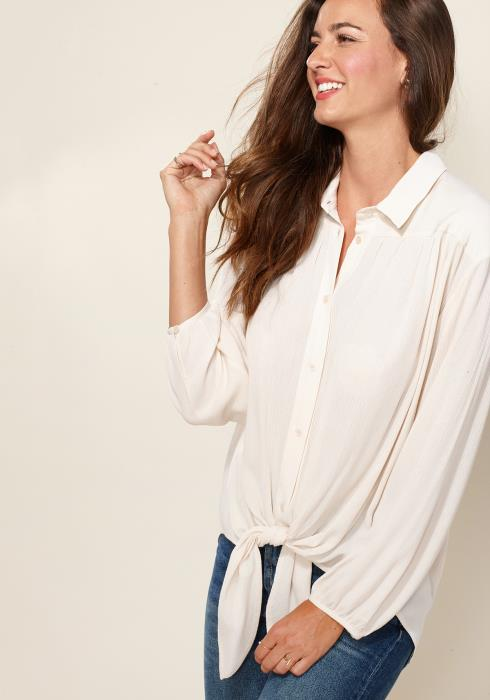 Pleione Pleated Tie Hem Button Down Blouse