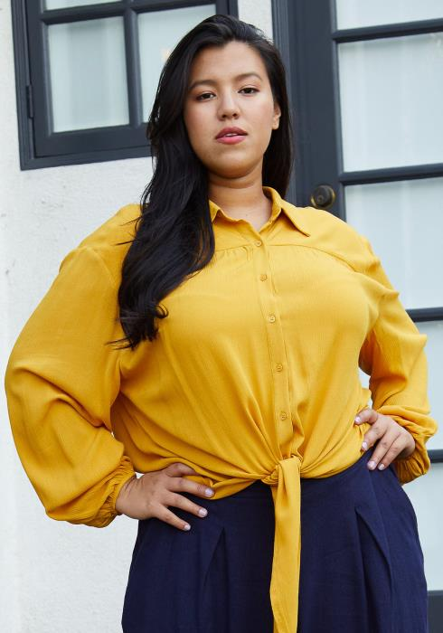 Plus Size Pleated Tie Hem Button Down Blouse