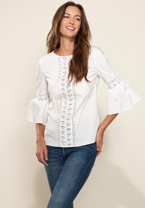 Pleione Bell Sleeve Lace Trim Cutout Top