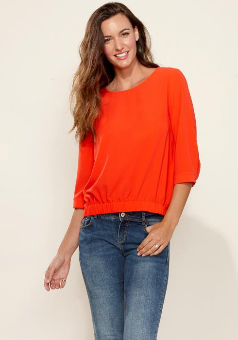 Pleione Gathered Hem Scoop Neck Blouse
