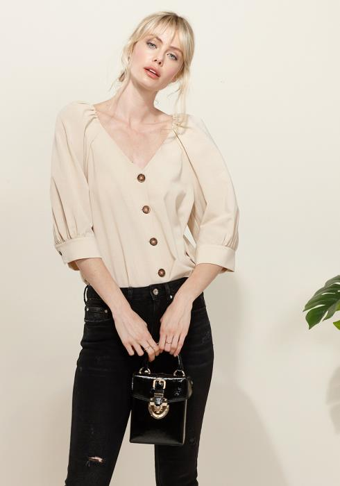 Pleione Puff Shoulder Button Down Blouse