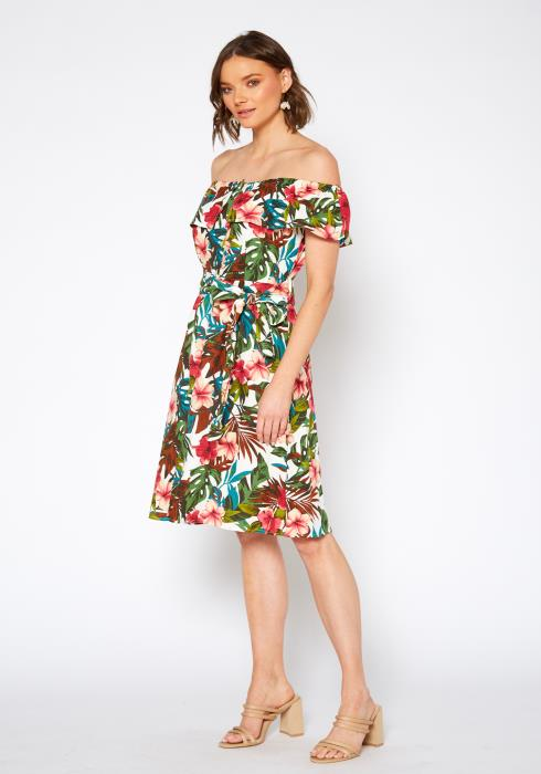 Pleione Tropical Off Shoulder Button Down Dress