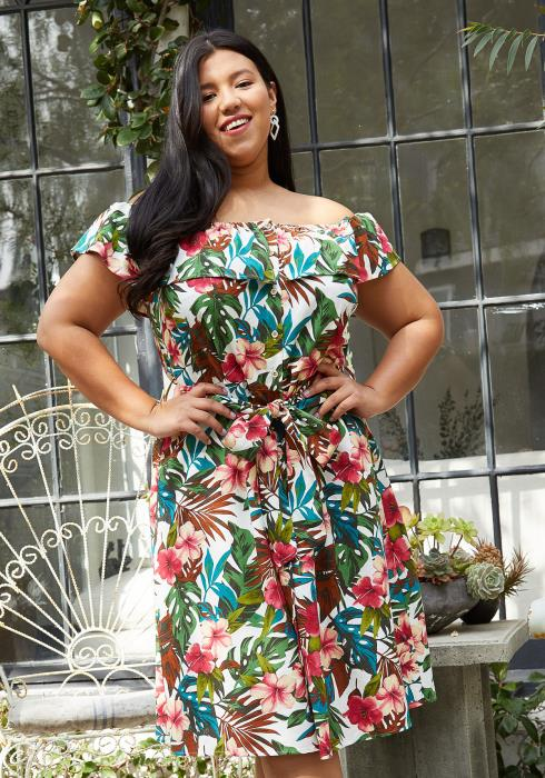Pleione Plus Size Tropical Off Shoulder Button Down Dress