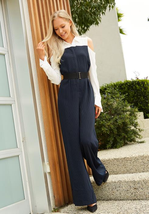 Tansy Open Shoulder Stripe Jumpsuit