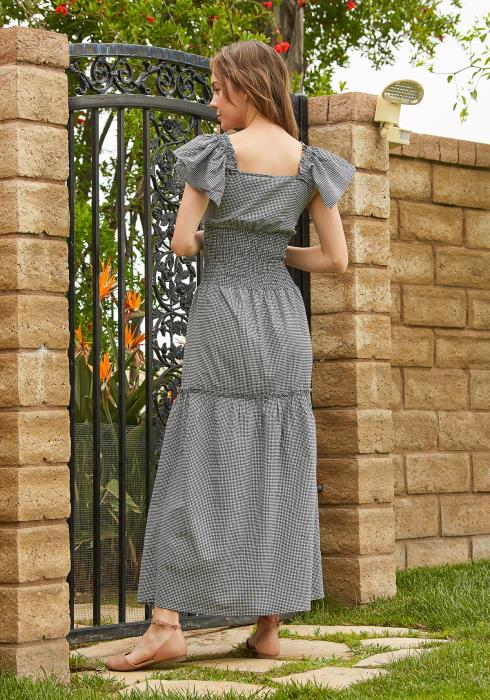 Tansy Smocked Gingham Maxi Dress