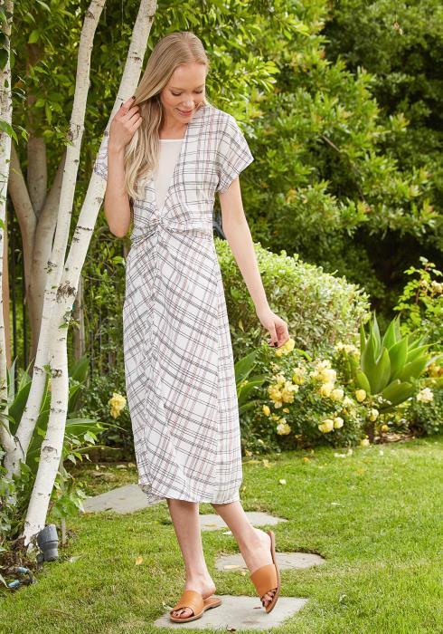Tansy Grid Print Midi Dress