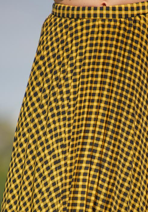 Tansy Pleated Plaid Midi Skirt
