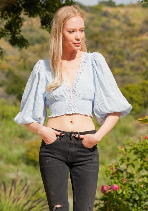 Tansy Smocked Lace Trim Crop Top