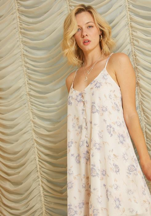Tansy Button Up Floral Tent Dress
