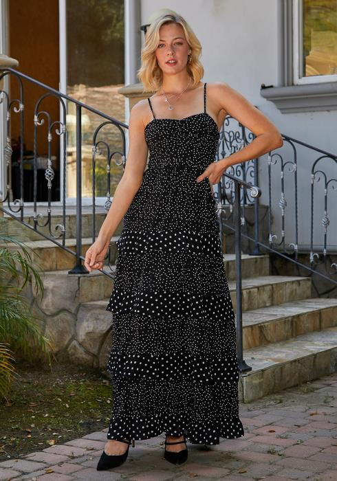 Tansy Tiered Polka Dot Maxi Dress