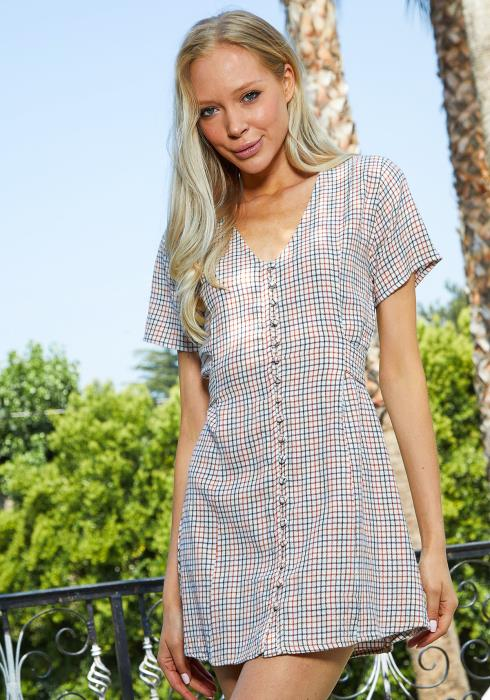 Tansy Grid Print Tie Back Dress