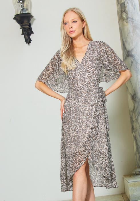 Tandy Leopard Wrap Dress