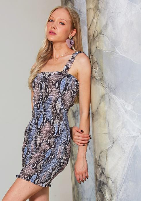 Tansy Smocked Snake Print Dress