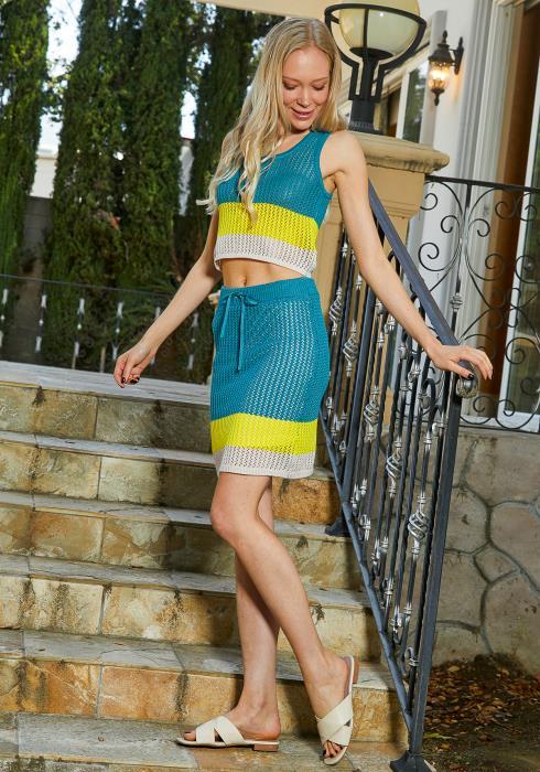 Tansy Crochet Color Block Skirt