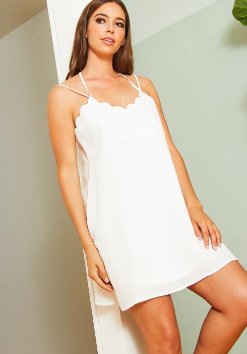 Tansy Womens Petal Edged Mini Dress