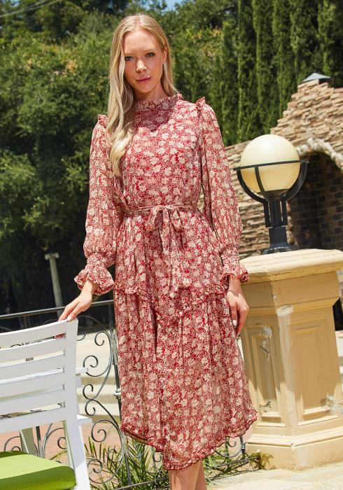 Tansy Vintage Floral Chiffon Midi Dress