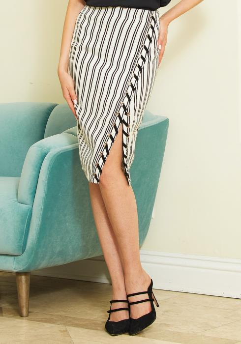 Tansy Striped Slit Midi Skirt