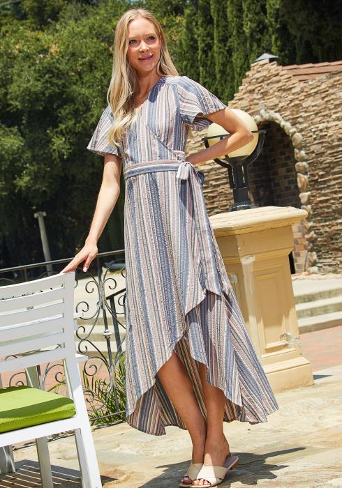 Tansy Hi Lo Stripe Wrap Dress