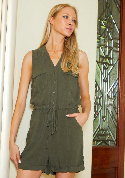 Tansy Button Up Sleeveless Romper