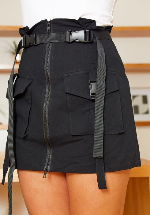 Tansy Womens Cargo Utility Zipper Mini Skirt