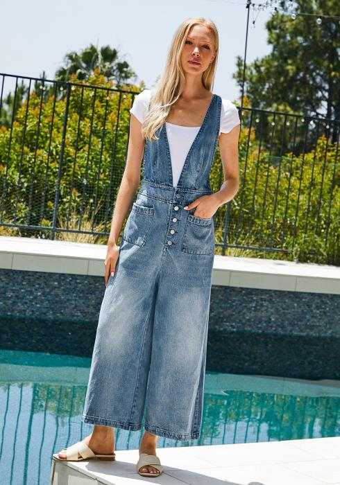 Tansy Denim Wide Leg Jumpsuit