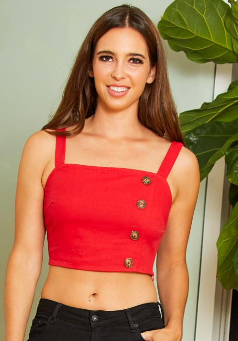 Tansy Womens Faux Button Fitted Cami Red Crop Top