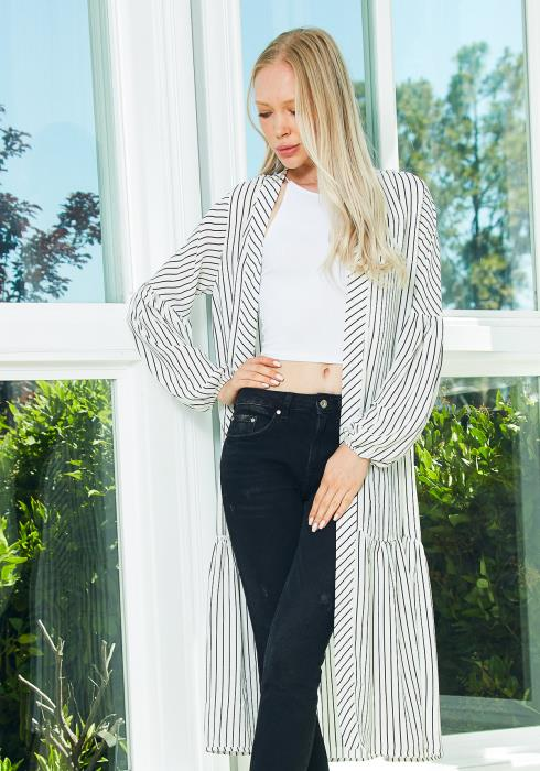 Tansy Stripe Open Front Cardigan