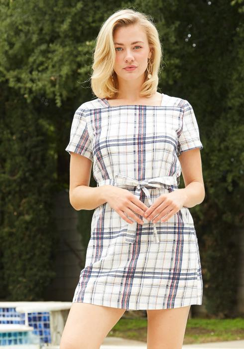 Tansy Plaid Square Neck Mini Dress